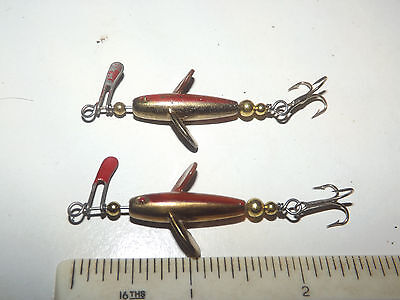 A Nice Scarce Vintage And Unusual Pair Of Fixed Spindle Metal Minnow Fish Lures