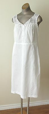 Antique Victorian Ladies Cotton Nightgown with Crochet Straps