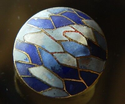 Antique Victorian Button COLORFUL Champleve Enamel on domed Brass Shades of Blue