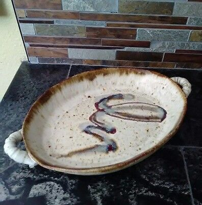 """Handthrown Stoneware Pottery Serving Bowl Dish Handcrafted Signed 12"""" long"""