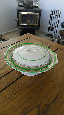 MYOTT STAFFORDSHIRE -The Crowning Green Round Covered Vegetable Bowl -NO RESERVE