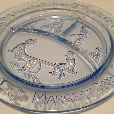 Molded Glass Child Plate See Saw Margery Daw Blue Transparent