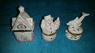 3 Lenox-Gingerbread Holiday-The Dolphin Splash-Snowman's Surprise Trinket Boxes
