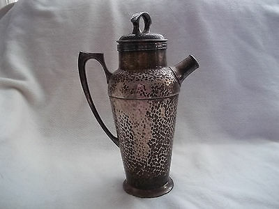 Antique Cocktail Shaker (1903) Hammered Silverplated Martini Decanter Patina