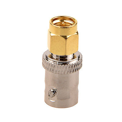 Gold Tone SMA Male to Silver Tone BNC Female Connector Adapter CT F3M7 P0K8 C0S2