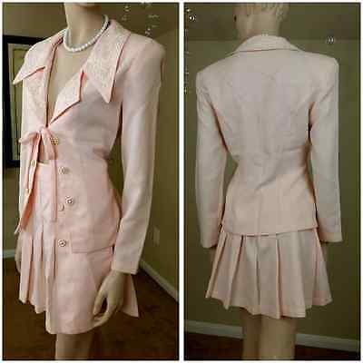 vintage 90s pink and white suit mini skirt  size 9 by La Belle Fashion inc
