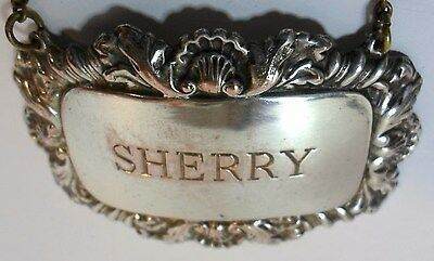Antique Silver Plated SHERRY DECANTER BOTTLE LABEL Shell Scroll Edges With Chain