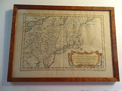 Antique 1757 Original Map of New England by Bellin-1703-1772