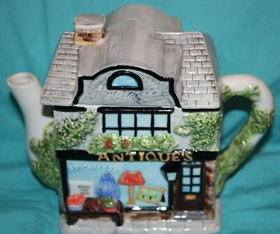 Vintage Ceramic Novelty ANTIQUES SHOP Books Bric A Brac TEA POT Teapot