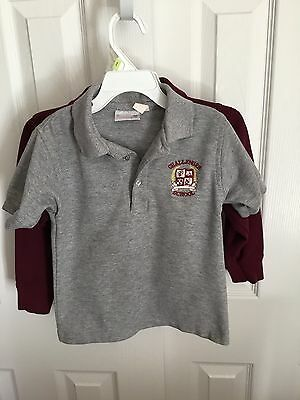 Two Challenger School Uniform Polo Shirts Size Y XS (5/6) SS, LS