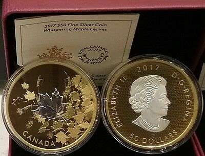2017 $50 Whispering Maple Leaves 55mm 3OZ PureSilver Proof GoldPlated CanadaCoin