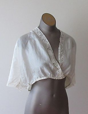 Antique Edwardian White Silk Blouse / Top with lace trim