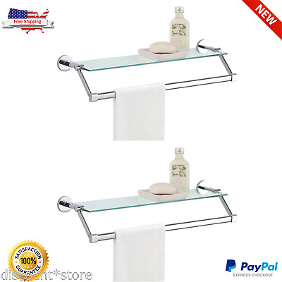 Pleasing Bathroom Glass Shelves Towel Rack Chrome Tempered Shower Holder Shelf Wall Mount Download Free Architecture Designs Scobabritishbridgeorg