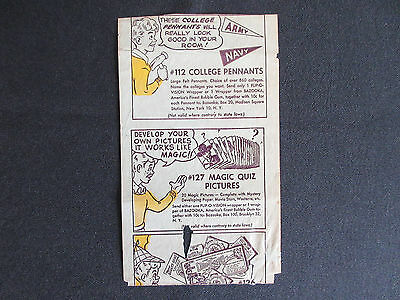 1950's Topps BAZOOKA Bubble Gum College Pennants Insert WRAPPER
