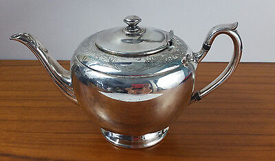 ANTIQUE Flower Engraved Heavy Silver  Tea pot by W.M.A ROGERS Canada E.P.B.M 877