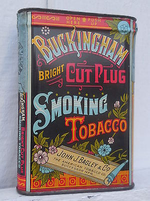 Original old litho tin-Buckingham Bright Cut Plug Smoking Tobacco  Bagley & Co