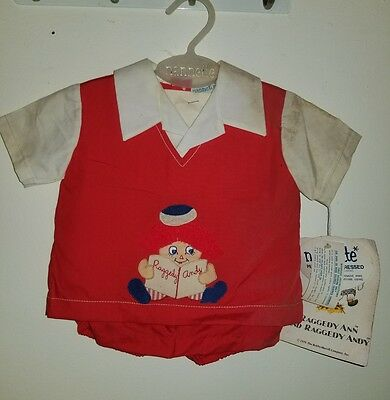 Vintage 1976 Nannette Raggedy Andy Childrens Outfit W/ TAGS The Bobbs-Merrill