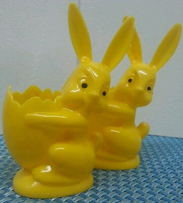 Vintage Easter Rabbit Yellow Plastic Candy Holder Container Lot of 2