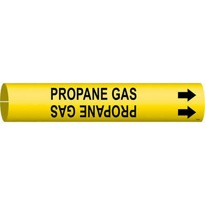 BRADY Plastic Pipe Marker,Propane Gas,Y,3/4 to1-3/8 In, 4114-A