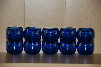 10 Vintage Art Deco Cobalt Blue Lowball Glasses with White Sailboats Barware