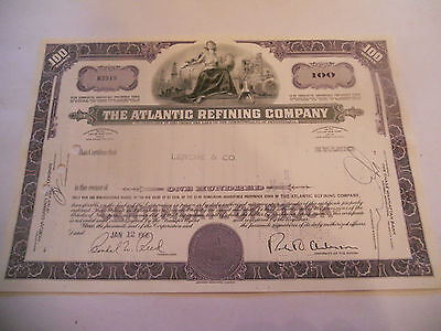 Old Stock Certificates 100 Shares The Atlantic Refining Company 1966 Puce Purple