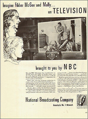 1945 WW2 Era AD NBC will have Post war TELEVISION BROADCAST Fibber McGee -010315