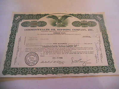 Old Stock Certificates 100 Shares Commonwealth Oil Refining Company Inc Green