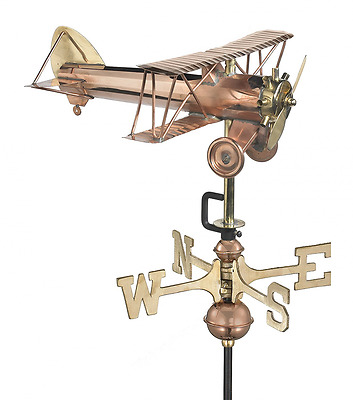 Good Directions Biplane Cottage Weathervane with Roof Mount, Pure Copper