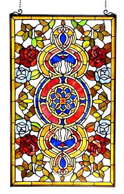 "Colorful Floral Medallion Tiffany Style Stained Cut Glass Window Panel 20"" x 32"""