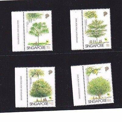 """Singapore, 1979, """"trees"""" Set Of 4 Stamps Mint Nh Fresh Good Condition"""