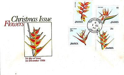 """Jamaica, 1986, """"flowers """" Set Of 4 Stamp On Fdc Fresh Good Condition"""