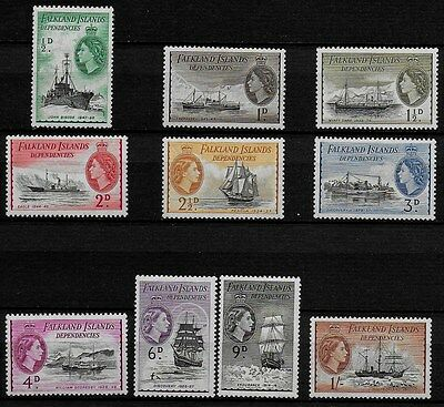 Falkland Islands Dependencies 1954 QEII Ships - SS to 1/- - MH