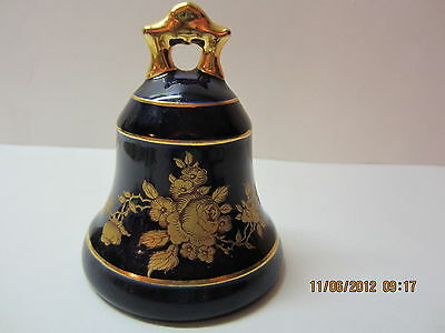 Vintage Limoges Porcelain Bell-Cobalt Blue & Gold-Made In France-Beautiful