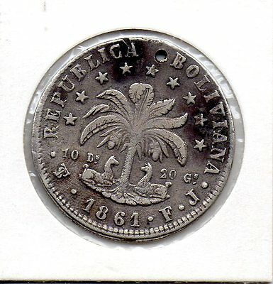 Scarce Silver Peso 1861 From Bolivia