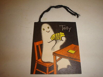 Old Vintage Halloween Cardboard Bridge Tally Card Sitting Ghost Hallmark Unused