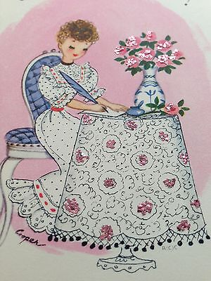 Girl Feather Pen Pink Glitter Roses M. Cooper Rust Craft Card Vtg 1950's