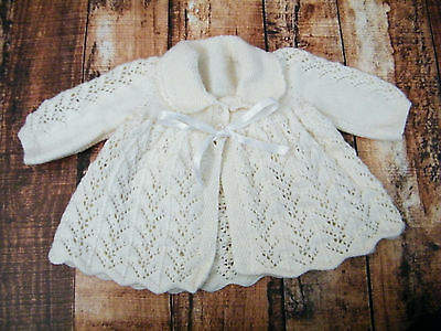Gorgeous vintage style handmade white thick winter kitted baby jacket size 0