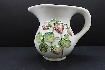Vintage Ceramic Strawberry Majolica Small Pitcher - White and Pink - Italy
