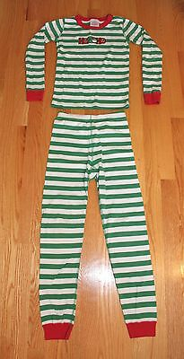 Hanna Andersson Red, Green & White Striped Christmas Pajamas Boys Girls Size 10