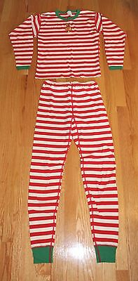 Hanna Andersson Red & White Striped Christmas Pajamas Boys Girls Size 16-18