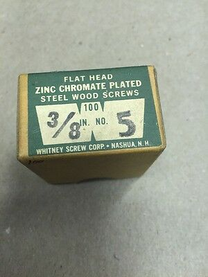 Vintage # 5 X 3/8 Inch FLAT Head Steel Slotted  Wood Screws 100 per box-ZINC USA