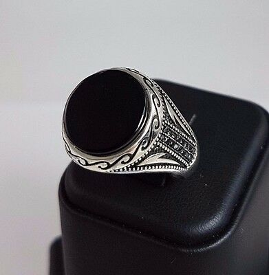 Natural Onyx Stone Handmade 925 Sterling Silver Turkish Men's Ring Size 11