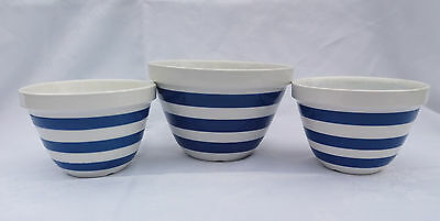 3 Vintage Blue and White Striped Cornish Ware Small Mixing/ Pudding Bowls