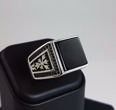 Natural Onyx Stone Handmade 925 Sterling Silver Turkish Men's Ring Size 11.5