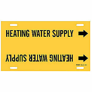BRADY Plastic Pipe Mrkr,Heating Water Supply,10to15 In, 4073-H