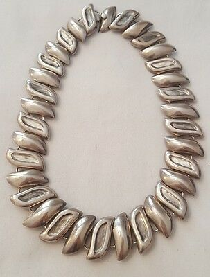 Vintage Taxco Modernist Tribal Style Sterling Silver Statement Necklace 17 1/4""