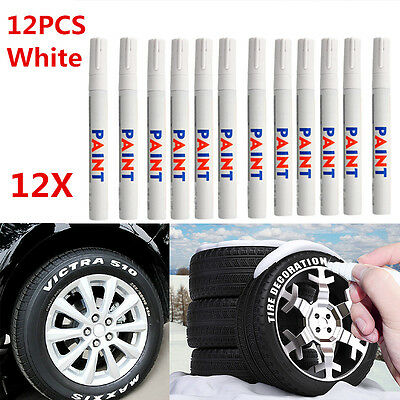 Universal 12 x White Waterproof Permanent Car Motorcycle Tyre Marker Paint Pen