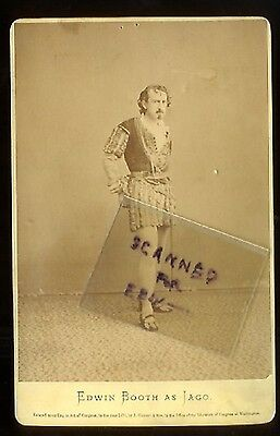 2) EDWIN BOOTH Cabinet Photo as IAGO (GURNEY) +  BOOTH'S THEATRE Program OTHELLO