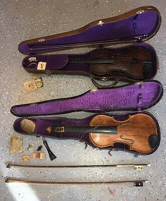 Vintage Lot Of 2 Violin & Case & 3 Bow Made in Germany Bausch w.H ORR For Repair