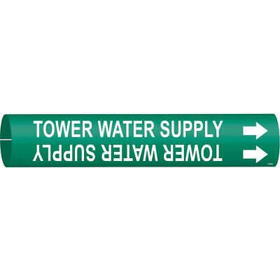 BRADY Plastic Pipe Markr,Tower Water Supply,Gn,4to6 In, 4144-D